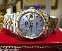 Rolex Mens Rolex Oyster Perpetual Datejust Yellow Gold Stainless Steel Blue Face