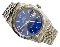 Rolex Mens Rolex Stainless Steel Datejust Wsubmariner Blue Dial Jubilee Band 1603