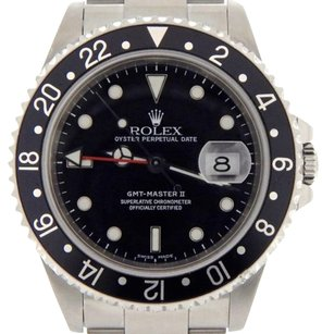 Rolex Mens Rolex Stainless Steel Gmt-master Ii Watch Black Woyster Sel Band 16710