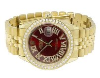 Rolex Mens S.steel Rolex Datejust Red Dial Jubilee 36mm Gold Plated Diamond Watch Ct