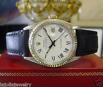 Rolex Mens Vintage Rolex Datejust Yellow Gold Steel White Dial Roman Numeral Watch