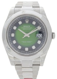 Rolex NEW Rolex Datejust II 116300 Stainless Green Vignette Diamond Dial