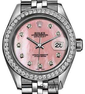 Rolex Peach Pearl Rolex 26MM Natural Diamond Face Datejust Stainless Steel