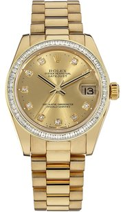 Rolex President Ladies 18K Gold Princess cut Custom Diamond Bezel & Diamond Dial Watch