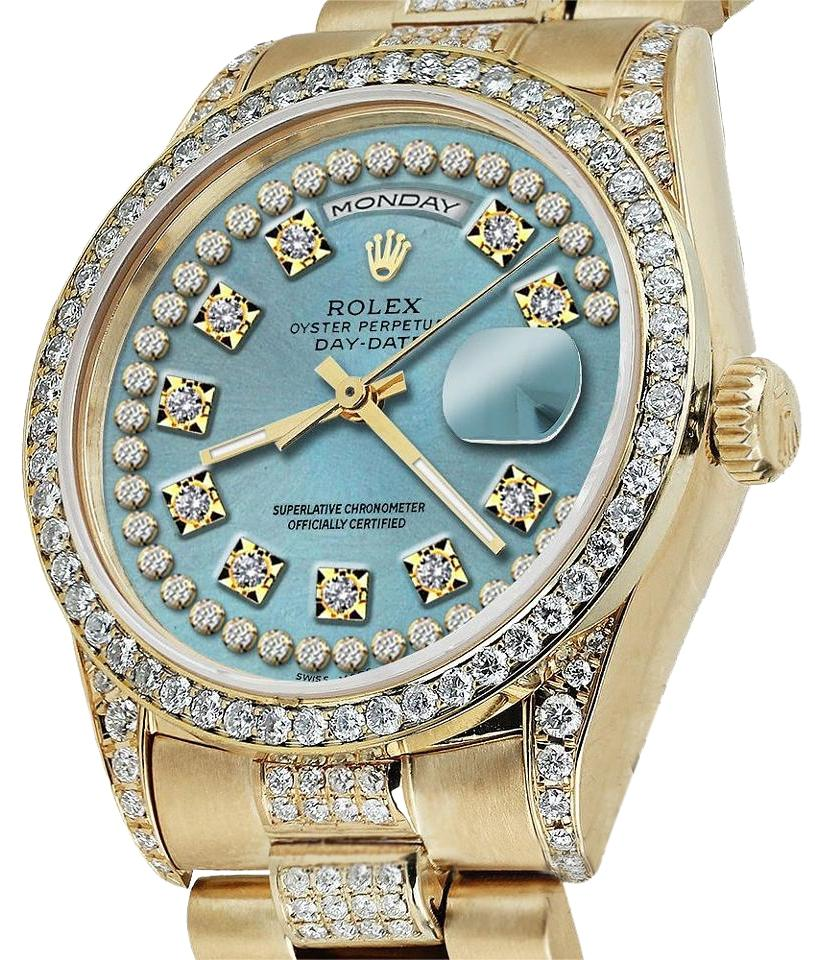 rolex presidential day date ice string dial diamond 18 kt