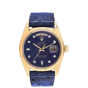 Rolex ROLEX 18K Gold DAY DATE BLUE DIAMOND DIAL WATCH