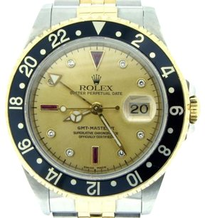 Rolex Rolex 2tone 18k Yellow Goldstainless Steel Gmt-master Ii Diamond Ruby 16713