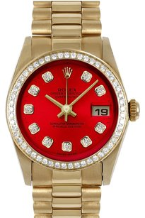Rolex ROLEX 31mm Mid-Size 18k Yellow Gold red Diamond Dial President Watch