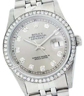 Rolex ROLEX 36MM DATEJUST SILVER DIAMOND STAINLESS STEEL WATCH
