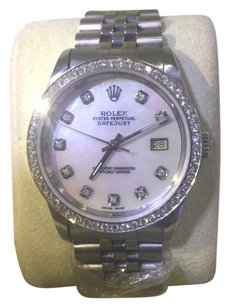 Rolex ROLEX 36MM DATEJUST WHITE PEARL GENUINE DIAMOND WATCH