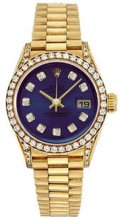 Rolex Rolex Datejust 18K Gold Custom Diamond Blue Dial Ladies Presidential Watch