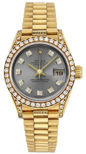 Rolex Rolex Datejust 18K Gold Custom Diamond Grey Dial Ladies Presidential Watch