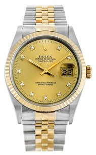 Rolex Rolex Datejust 18K /SS Champagne Diamond Dial Watch