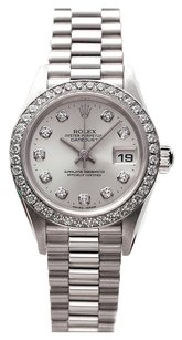 Rolex Rolex Datejust 18K White Gold Custom Diamond Silver Dial Ladies Presidential Watch