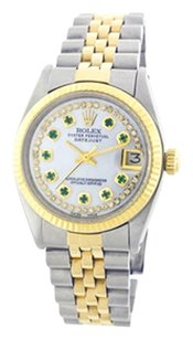 Rolex Rolex Datejust 18K Yellow Gold & Stainless Steel Custom Diamond & Emerald Dial Men's Watch