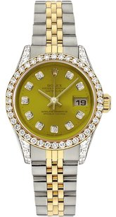 Rolex Rolex Datejust 18K Yellow Gold and Steel Custom Diamond Yellow Dial Ladies Watch