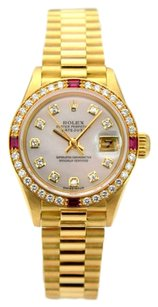 Rolex Rolex Datejust 18K Yellow Gold Custom Diamond & Ruby Ladies Presidential Watch