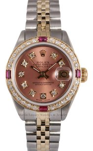 Rolex Rolex Datejust 2 Tone-Salmon Diamond Dial-Ruby Diamond Bezel 26mm