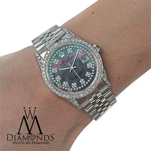Rolex Rolex Datejust 36mm Black Mother Of Pearl Diamond Dial Stainless Steel
