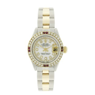 Rolex Rolex Datejust 69173 White MOP Ruby Diamond Oyster Band Two Tone Watch