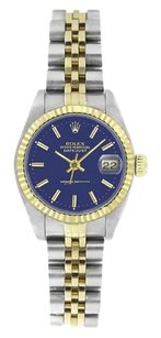Rolex Rolex DateJust Blue Stick Dial Two Tone Stainless Steel & Gold Watch 6917