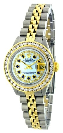 Rolex Rolex Datejust 18K Gold and Steel Custom Diamond & Sapphire Ladies Watch