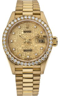 Rolex Rolex Datejust 18K Yellow Gold Custom Diamonds Ladies Presidential Watch