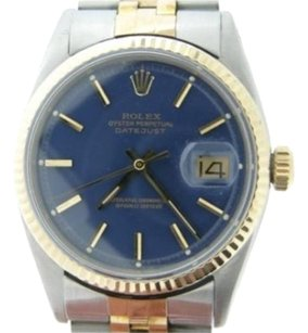 Rolex Rolex Datejust Men 2tone 14k Yellow Gold Stainless Steel Watch Jubilee Blue 1601