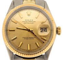 Rolex Rolex Datejust Mens 14k Gold Stainless Steel Champagne Oval Link Jubilee 1601