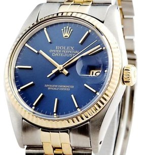 Rolex Rolex Datejust Mens 2t 18k Yellow Gold Steel Watch Jubilee Band Blue Dial 16013