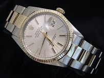 Rolex Rolex Datejust Mens 2t Stainless Steel 14k Yellow Gold Oyster Silver Dial 16013