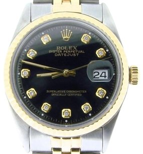 Rolex Rolex Datejust Mens 2tone 14k Gold Stainless Steel Jubilee W Black Diamond Dial