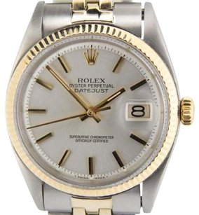 Rolex Rolex Datejust Mens 2tone 14k Yellow Gold Steel Watch Silver Dial Jubilee Band