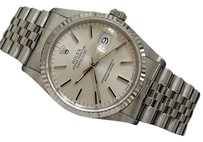 Rolex Rolex Datejust Mens Stainless Steel 18k White Gold Jubilee Silver No Holes 16234