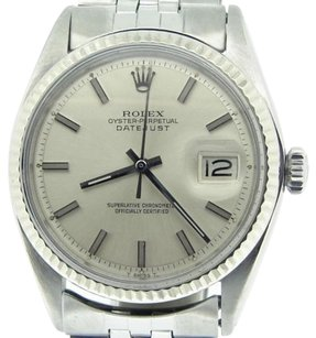 Rolex Rolex Datejust Mens Stainless Steel 18k White Gold Silver W Jubilee Band 1601