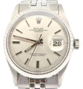 Rolex Rolex Datejust Mens Stainless Steel W Silver Dial Oval Link Jubilee Band 1603