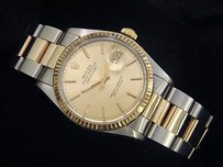 Rolex Rolex Datejust Mens Two-tone Stainless Steel 18k Yellow Gold Champagne 16013