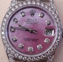Rolex Rolex Datejust Midsize 178240 Pink Mother Of Pearl Diamond Dial Bezel And Lugs