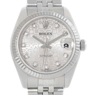 Rolex Rolex Datejust Midsize Steel 18k White Gold Diamond Watch 178274