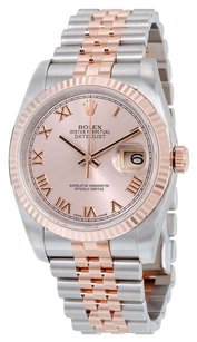 Rolex Rolex Datejust Pink Roman Dial Fluted 18kt Rose Gold Bezel Jubilee Bracelet Men's Watch 116233