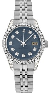 Rolex Rolex Datejust Stainless Steel Custom Diamond Navy Dial Ladies Watch