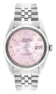 Rolex Rolex Datejust Stainless Steel Custom Diamond Pink Floral Dial Men's Watch