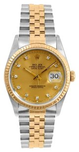Rolex Rolex Datejust 18K Yellow Gold and Stainless Steel Custom Diamond Dial Men's Watch