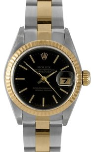 Rolex Rolex DateJust Two-Tone Oyster Black Stick Dial Watch 69173