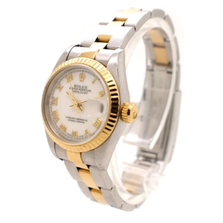 Rolex Rolex DateJust Stainless Steel and 18K Yellow Gold White Dial Ladies Watch