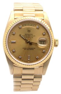 Rolex Rolex Day-Date 18K Yellow Gold Original Diamond Champagne Dial Men's Watch