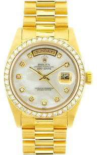 Rolex Rolex Day-Date White Mother of Pearl Diamond 18k Yellow Gold Watch 18238