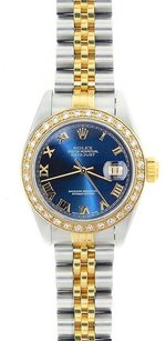 Rolex Rolex Ladies DateJust Two-Tone Blue Roman Diamond Watch 69173