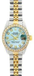 Rolex Rolex Ladies DateJust Two-Tone Ice Blue Diamond Watch 69173