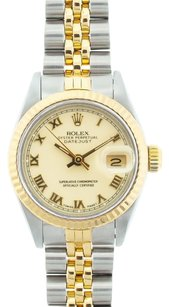 Rolex Rolex Ladies Datejust Two-tone Off-white Roman Dial Watch 6917